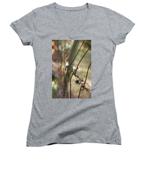 Vine On Rusted Fence Women's V-Neck