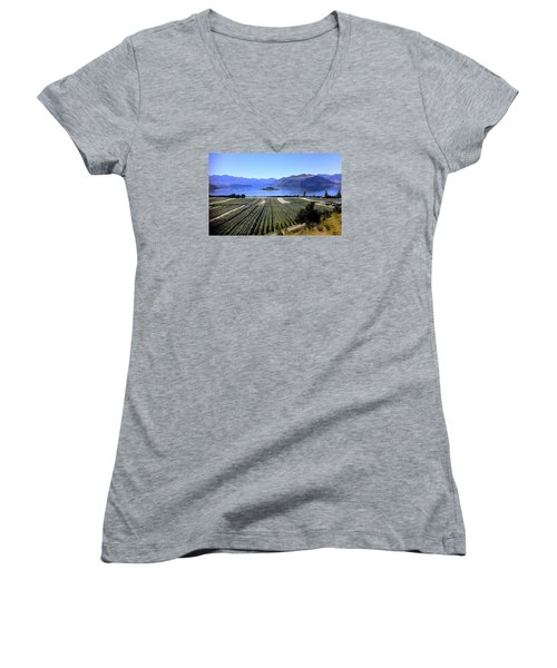 Vineyard View Of Ruby Island Women's V-Neck T-Shirt (Junior Cut) by Venetia Featherstone-Witty
