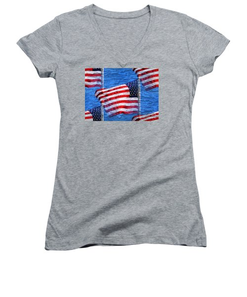 Women's V-Neck T-Shirt (Junior Cut) featuring the photograph Vintage Amercian Flag Abstract by Judy Palkimas