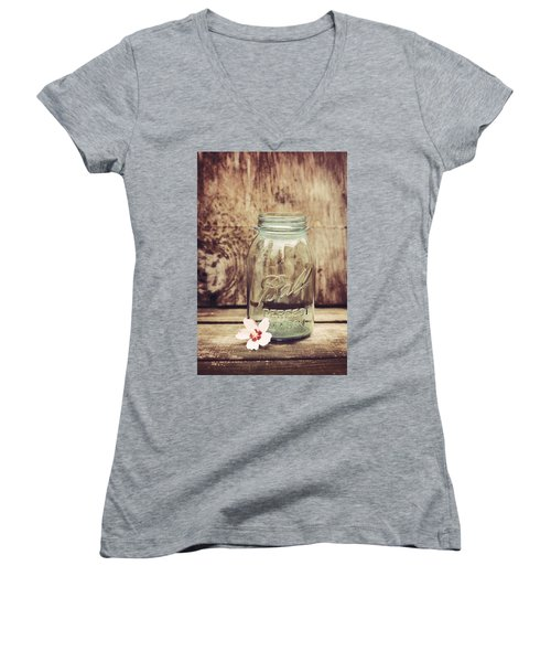 Vintage Ball Mason Jar Women's V-Neck (Athletic Fit)