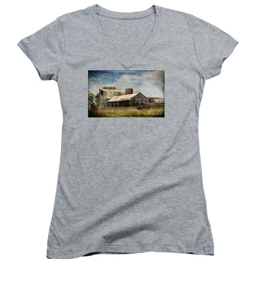 Barn -vintage Barn With Brick Silo - Luther Fine Art Women's V-Neck T-Shirt (Junior Cut) by Luther Fine Art