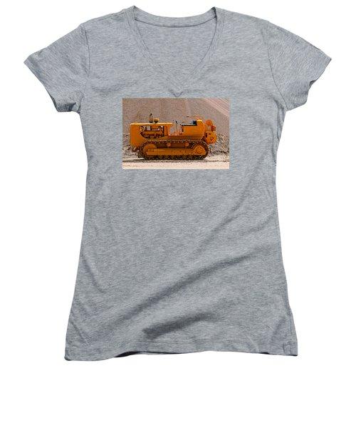 Vintage Bulldozer Women's V-Neck T-Shirt (Junior Cut) by Les Palenik