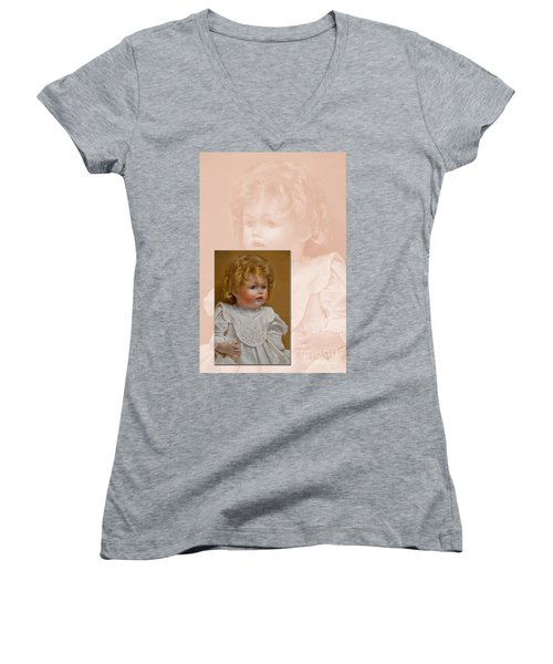 Vintage Doll Beauty Art Prints Women's V-Neck T-Shirt (Junior Cut) by Valerie Garner