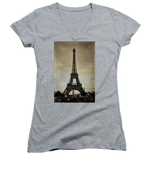 Vintage Eiffel Bronze Women's V-Neck
