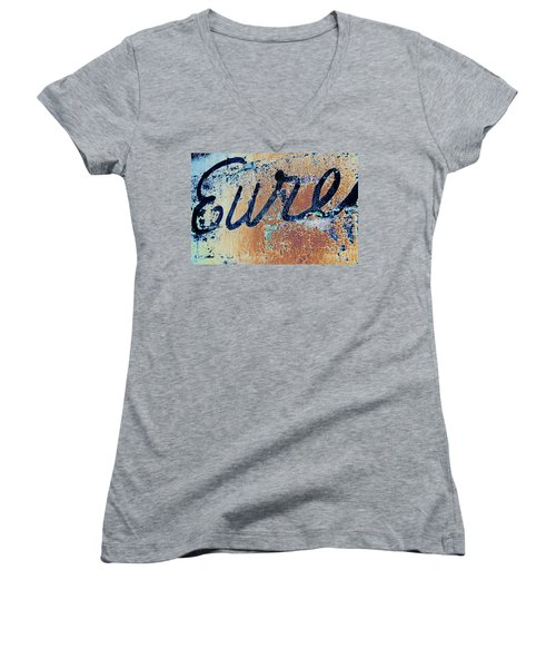 Women's V-Neck T-Shirt (Junior Cut) featuring the photograph Vintage Eureka by Steven Bateson