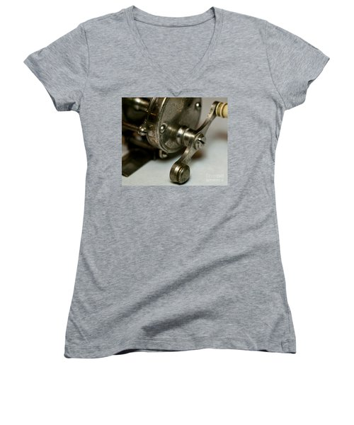 Vintage Fishing Reel  Women's V-Neck T-Shirt (Junior Cut) by Wilma  Birdwell