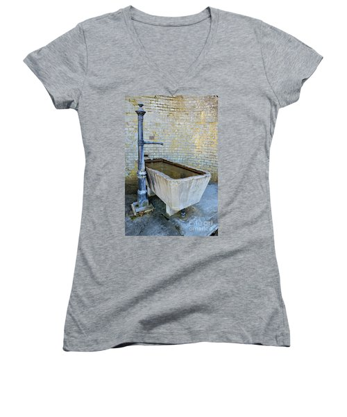 Vintage Fountain Women's V-Neck T-Shirt (Junior Cut) by Felicia Tica