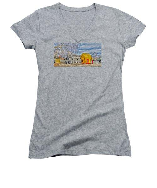 Days Of Yesterday Gas Station Women's V-Neck T-Shirt