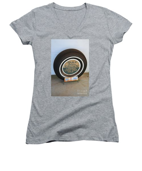 Women's V-Neck T-Shirt (Junior Cut) featuring the photograph Vintage Gulf Tire With Ad Plate by Lesa Fine