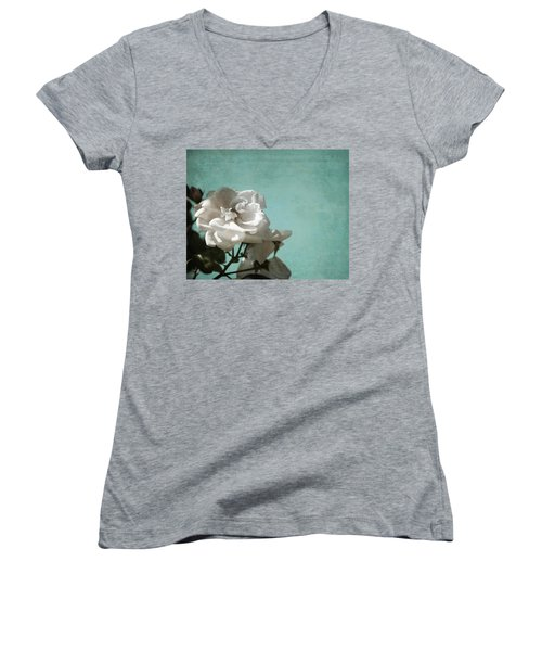 Women's V-Neck T-Shirt (Junior Cut) featuring the photograph Vintage Inspired White Roses On Aqua Blue Green - by Brooke T Ryan