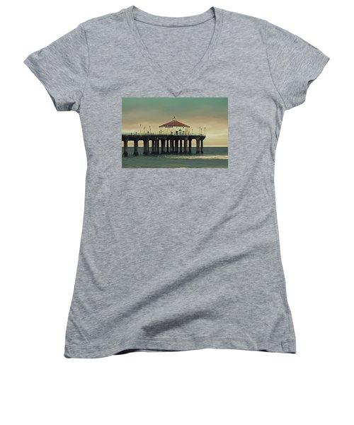 Vintage Manhattan Beach Pier Women's V-Neck (Athletic Fit)