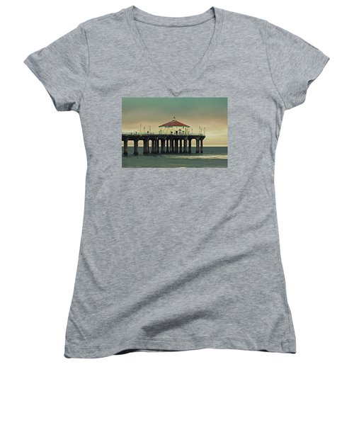 Vintage Manhattan Beach Pier Women's V-Neck