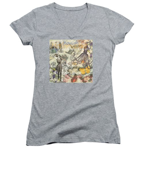 Vintage Octopus And Bathing Beauties Women's V-Neck