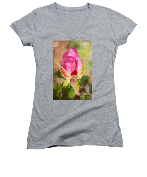 Women's V-Neck T-Shirt (Junior Cut) featuring the photograph Vintage Pink Rose Bud by Judy Palkimas
