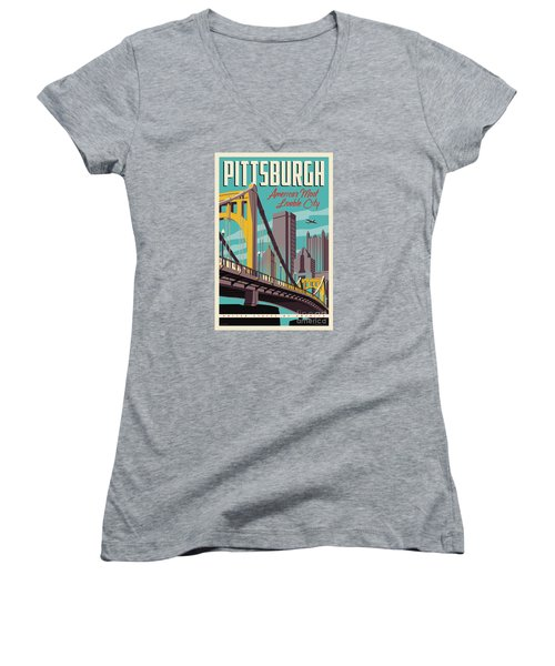 Vintage Style Pittsburgh Travel Poster Women's V-Neck T-Shirt (Junior Cut) by Jim Zahniser