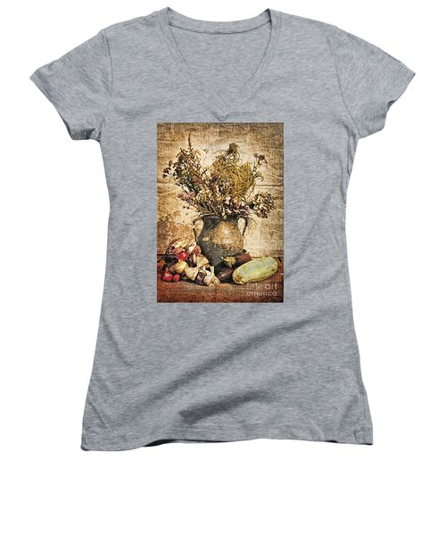 Vintage Still Life - Antique Grunge Women's V-Neck (Athletic Fit)
