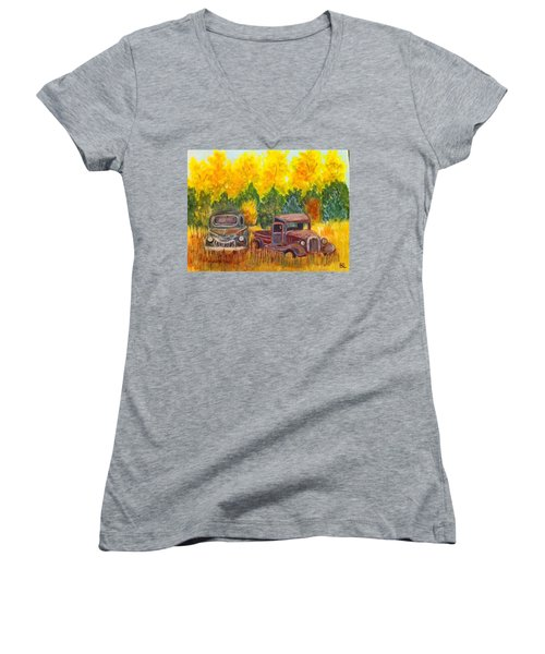 Women's V-Neck T-Shirt (Junior Cut) featuring the painting Vintage Trucks by Belinda Lawson