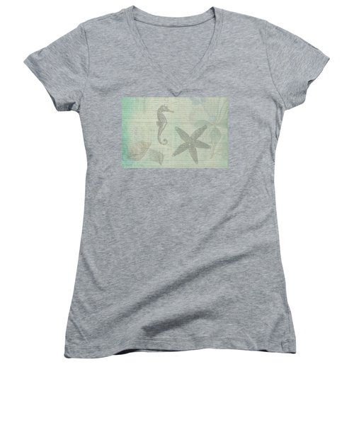 Women's V-Neck T-Shirt (Junior Cut) featuring the drawing Vintage Under The Sea by Peggy Collins