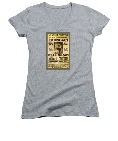 Vintage Willie Nelson 1985 Farm Aid Poster Women's V-Neck T-Shirt