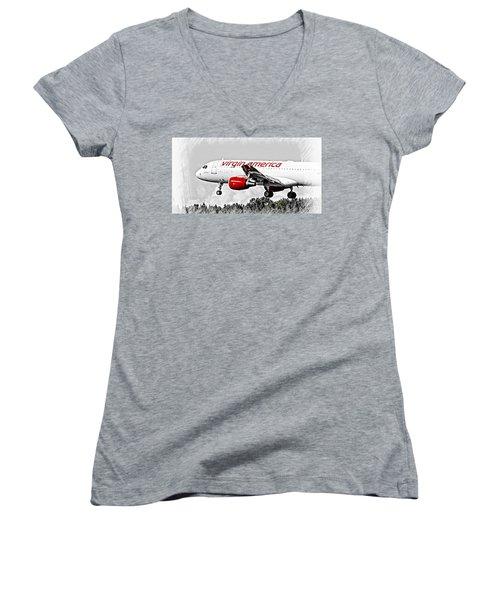 Women's V-Neck T-Shirt (Junior Cut) featuring the digital art Virgin America Mach Daddy  by Aaron Berg