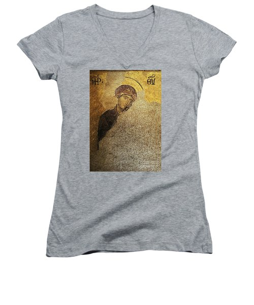 Virgin Mary-detail Of Deesis Mosaic  Hagia Sophia-day Of Judgement Women's V-Neck (Athletic Fit)