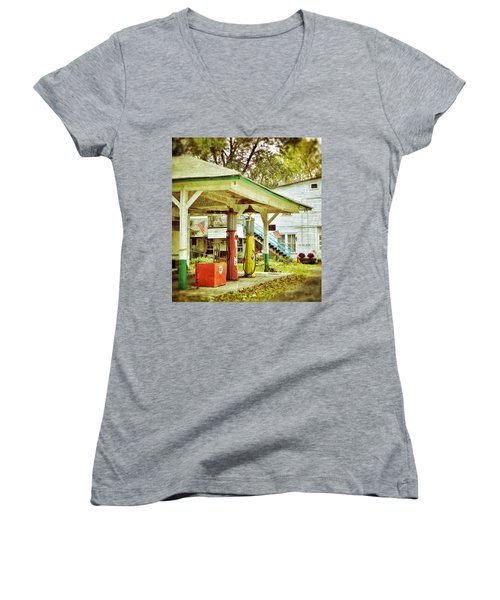 Visible Gas Pumps Women's V-Neck T-Shirt (Junior Cut) by Jean Goodwin Brooks