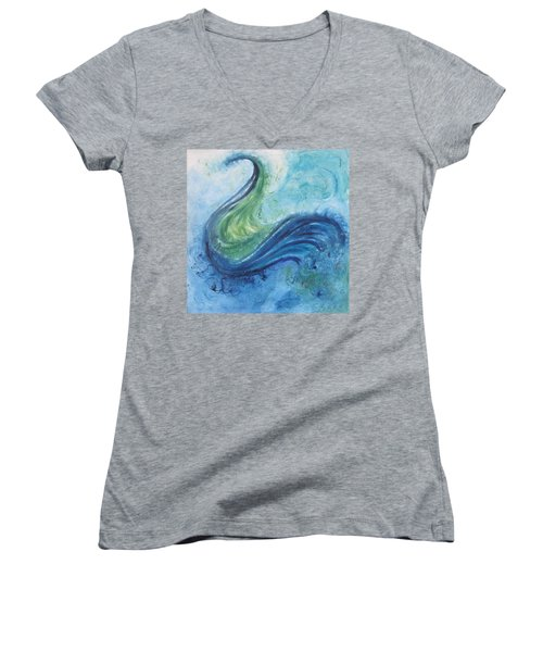 Women's V-Neck T-Shirt (Junior Cut) featuring the painting Peacock Vision In The Mist by Diane Pape