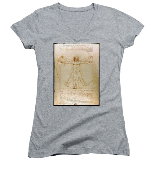 Vitruvian Man By Leonardo Da Vinci  Women's V-Neck T-Shirt (Junior Cut) by Karon Melillo DeVega