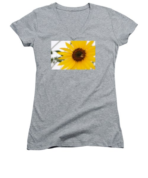 Women's V-Neck T-Shirt (Junior Cut) featuring the photograph Vivid Sunflower With Bee Fine Art Nature Photography  by Jerry Cowart