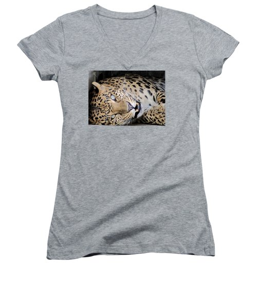 Voodoo The Leopard Women's V-Neck (Athletic Fit)