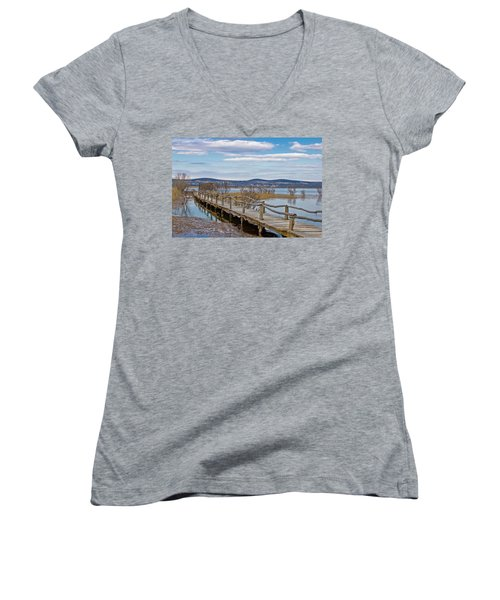 Vransko Lake Nature Park Bird Observatory Women's V-Neck T-Shirt (Junior Cut) by Brch Photography