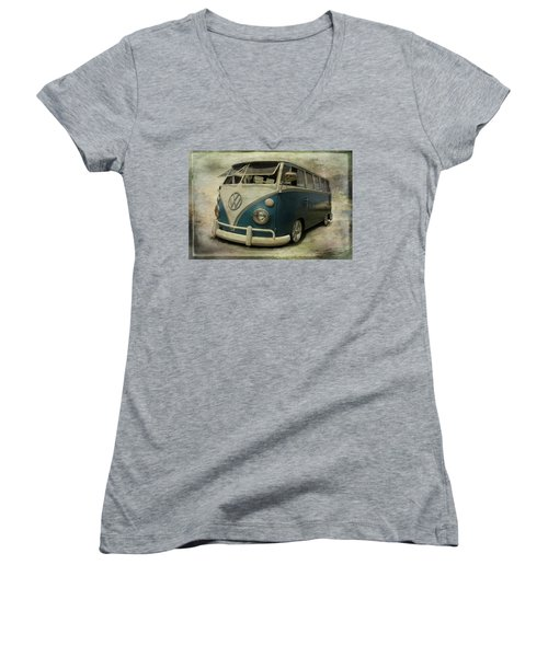 Vw Bus On Display Women's V-Neck T-Shirt (Junior Cut) by Athena Mckinzie