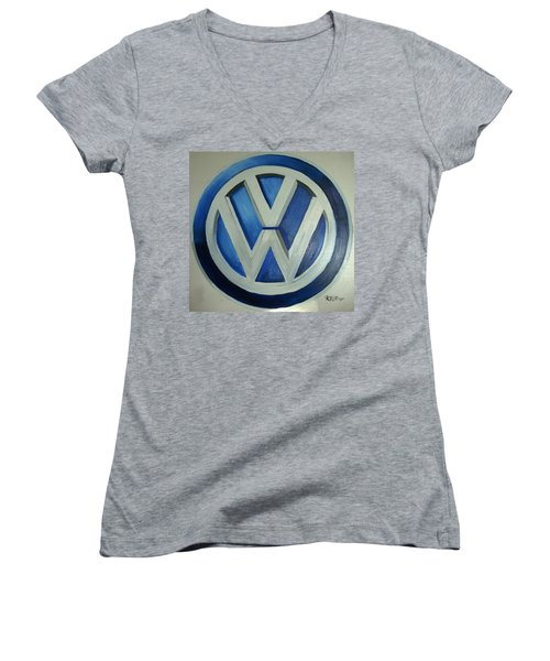 Vw Logo Blue Women's V-Neck