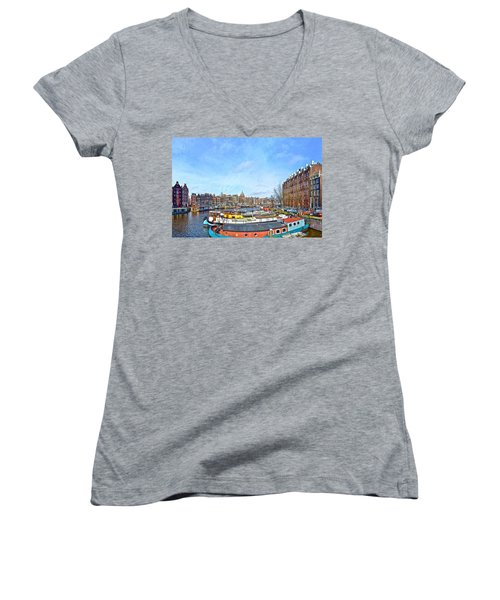 Waalseilandgracht Amsterdam Women's V-Neck T-Shirt (Junior Cut) by Frans Blok