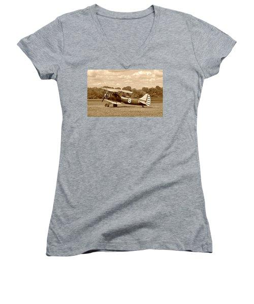 Waco Upf-7 Women's V-Neck T-Shirt (Junior Cut) by Jean Goodwin Brooks