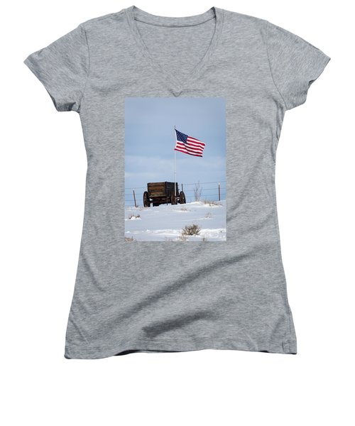 Wagon And Flag Women's V-Neck