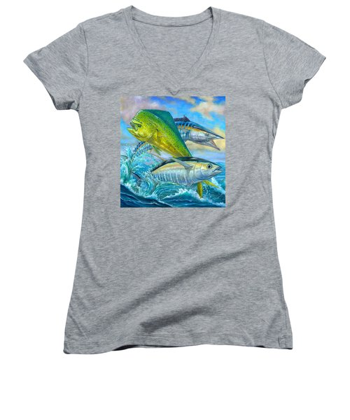 Wahoo Mahi Mahi And Tuna Women's V-Neck