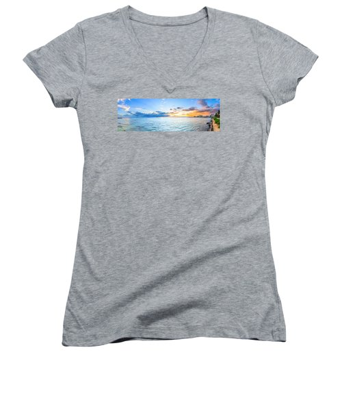 Waikiki Sunset After An Afternoon Thunderstorm Women's V-Neck (Athletic Fit)