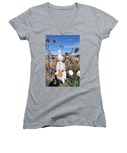 Women's V-Neck T-Shirt (Junior Cut) featuring the photograph Waiting For Darkness by Minnie Lippiatt