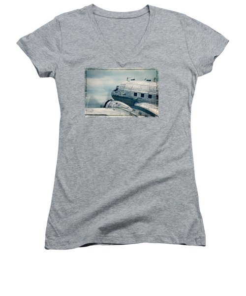 Waiting For Take Off Women's V-Neck T-Shirt (Junior Cut) by Steven Bateson