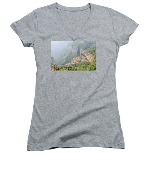 Waiting For The Monsoons Women's V-Neck T-Shirt (Junior Cut) by Fotosas Photography