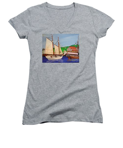 Waiting For The Salt Women's V-Neck T-Shirt (Junior Cut) by Bill Hubbard