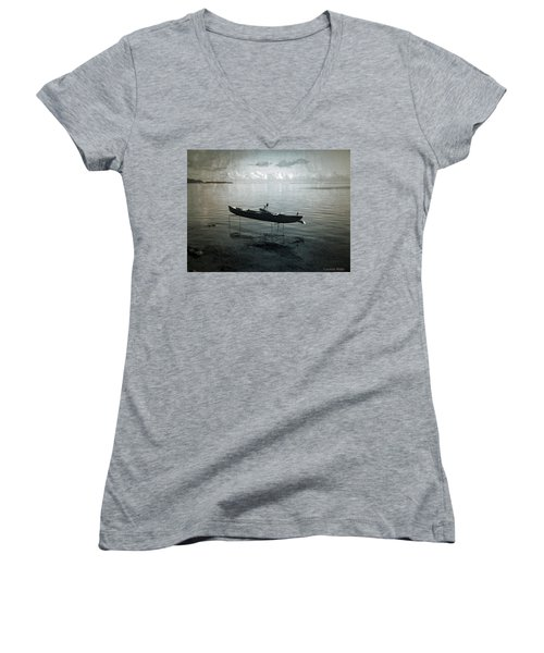 Women's V-Neck T-Shirt (Junior Cut) featuring the photograph Waiting In Blue by Lucinda Walter