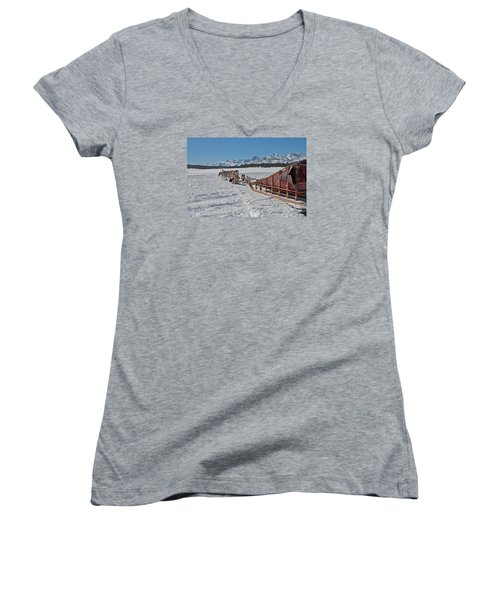 Women's V-Neck T-Shirt (Junior Cut) featuring the photograph Waiting Sled Dogs  by Duncan Selby