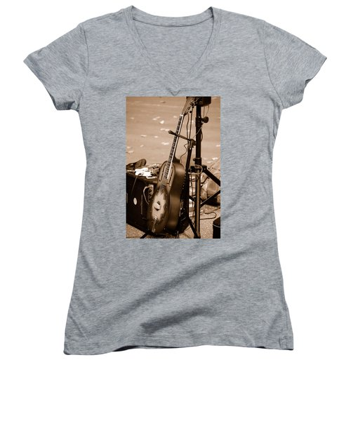 Waiting To Be Played Women's V-Neck T-Shirt (Junior Cut) by Holly Blunkall