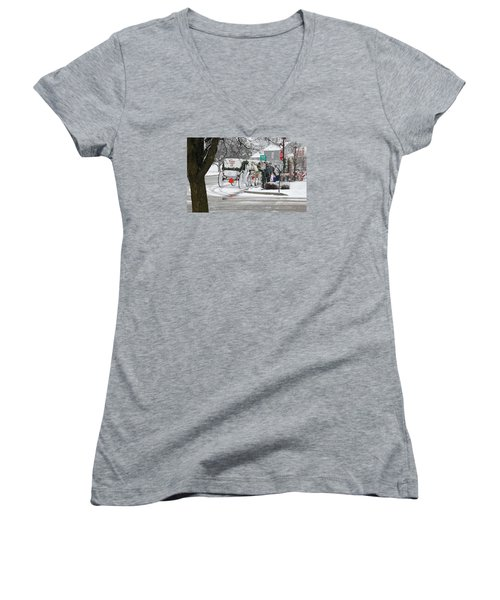Waiting To Give A Ride Women's V-Neck T-Shirt (Junior Cut) by Janice Adomeit