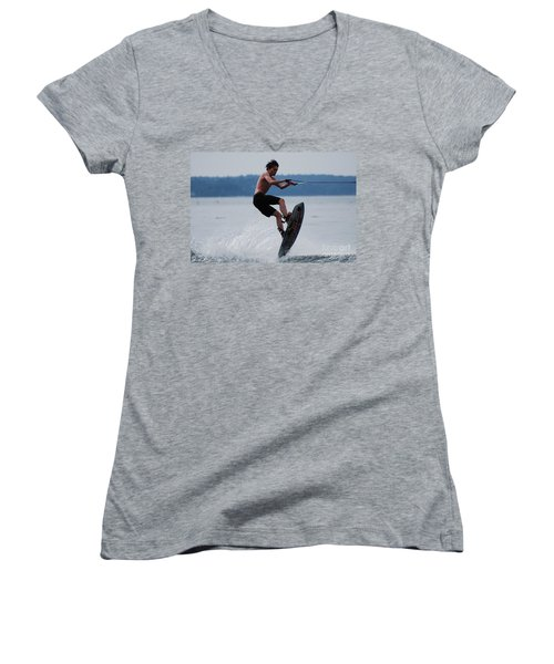 Wakeboarder Women's V-Neck (Athletic Fit)