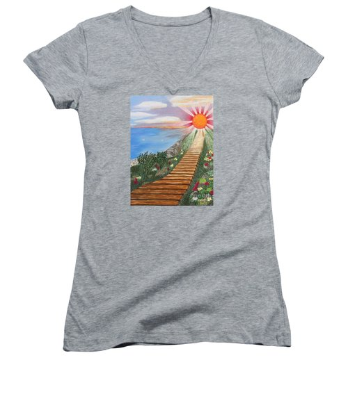 Women's V-Neck T-Shirt (Junior Cut) featuring the painting Waking Up Love by Cheryl Bailey