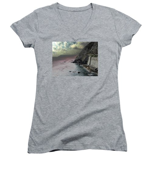Women's V-Neck T-Shirt (Junior Cut) featuring the photograph Walk Of Love Riomaggiore by Natalie Ortiz