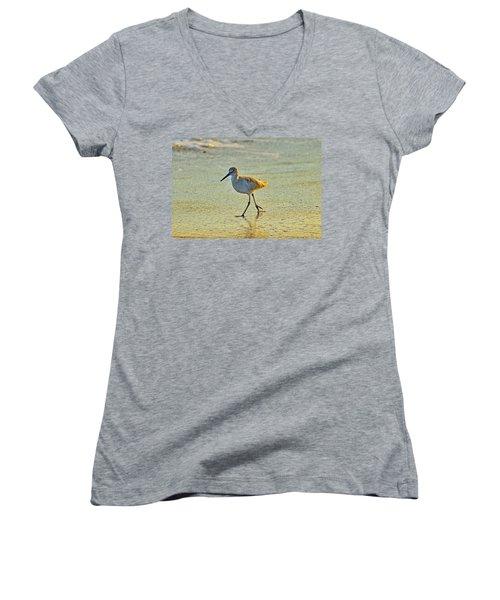 Women's V-Neck T-Shirt (Junior Cut) featuring the photograph Walk On The Beach by Cynthia Guinn
